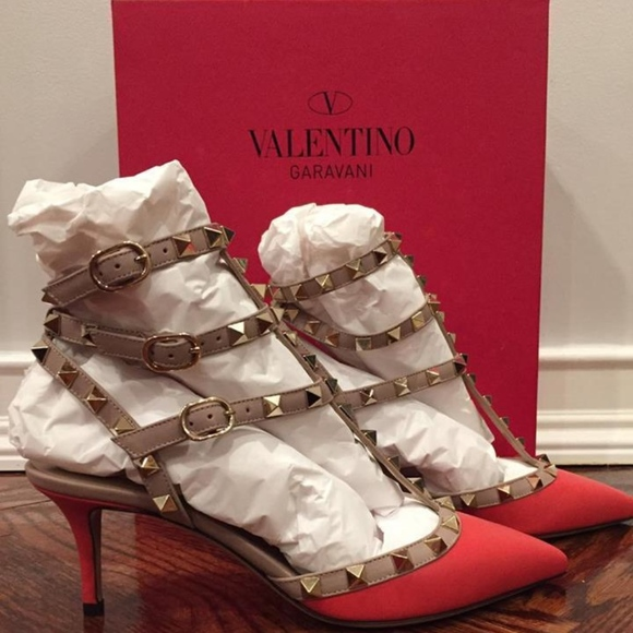 0b211280c7 Valentino Shoes | Rockstud Red Orange Leather Kitten Heel | Poshmark